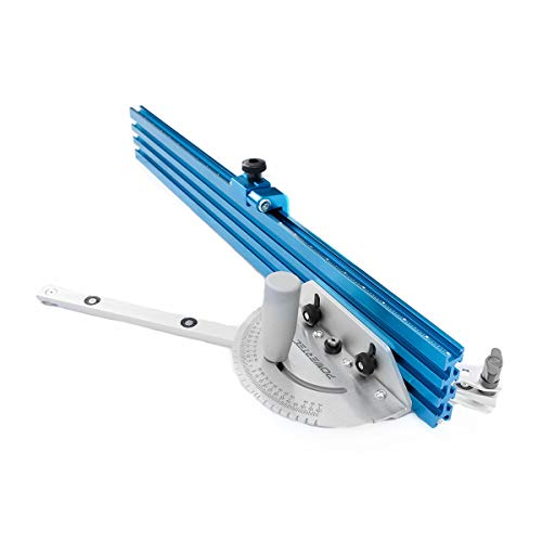 """POWERTEC 71391 Table Saw Precision Miter Gauge System 24"""" x 3"""" multi –track fence with 27 Angle Stops"""
