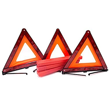 Fasmov Triple Warning Triangle Emergency Warning Triangle Reflector Safety Triangle Kit,3-Pack