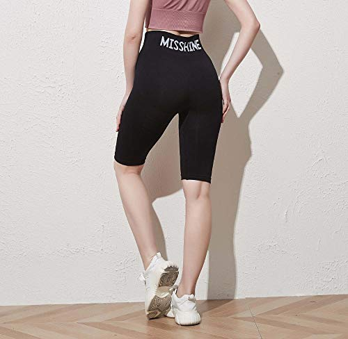 bayrick Mallas Push up Mujer Leggings,Pantalones de Yoga de Cintura de Cintura de Cintura Alta de Cinco Puntos-Negro_Metro