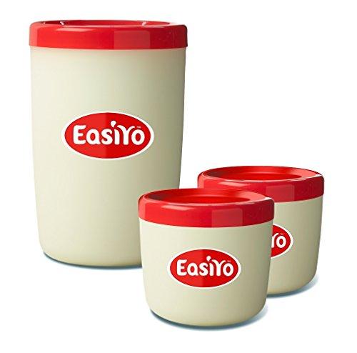EasiYo 19416892602037 Joghurt-Vorratsdose und Lunch-Behälter, Kunststoff, roter Deckel
