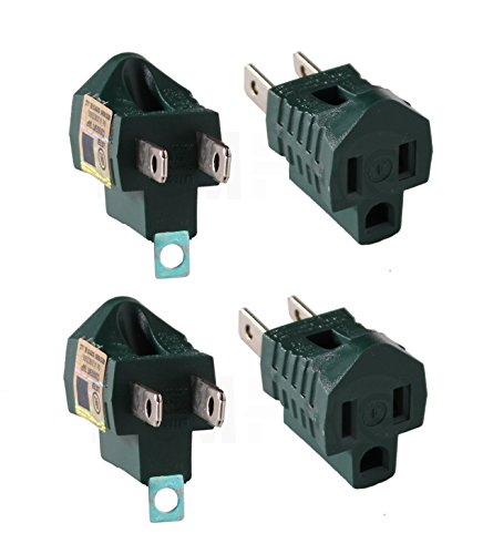 4Pc Ram-Pro 3-Prong To 2-Prong Adapter, Electric Grounding Outlet Converter