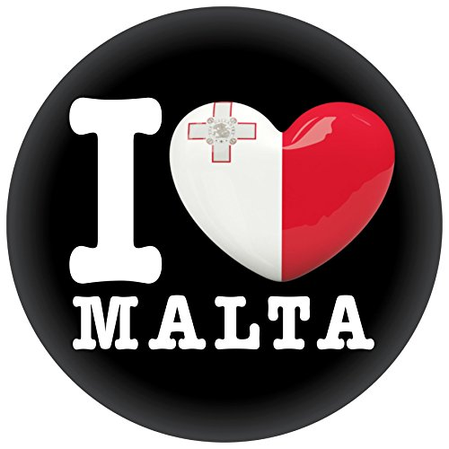 FanShirts4u Button/Badge/Pin - I Love MALTA Fahne Flagge (I Love Malta)
