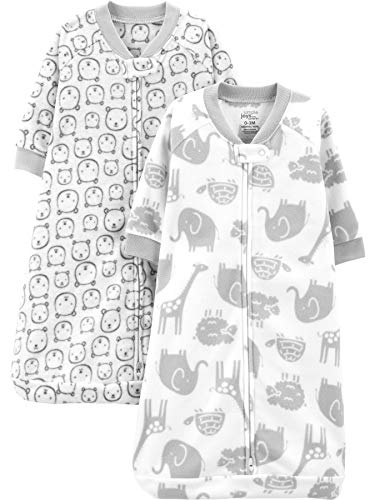 Simple Joys by Carter's Baby 2-Pack Microfleece Sleepbag Wearable Blanket, Heather Grey Animals, 6-9 Months, 17 to 21 lbs
