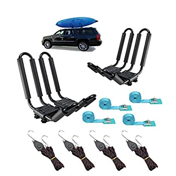 2 Pairs Heavy Duty Kayak Rack-Includes 4 Pcs Ratchet Tie-Mount on Car Roof Top Crossbar-Easy to Carry Kayak Canoe Boat Surf Ski  J-Bar Rack