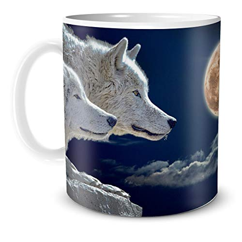 TRIOSK Fantasy Teebecher mit Wolf Motiv Mond Wölfe zauberhaft mystisch Gothic Zaubertrank magisch für Hexen Zauberer