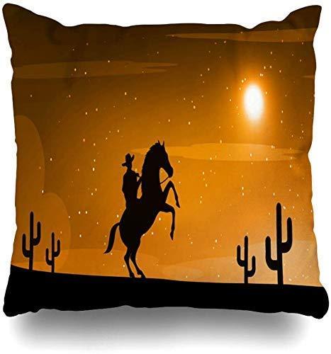 Mesllings Gooi Kussenslopen Natuur Oranje Zwart Amerikaanse Cowboy Paard Wild West Moon Wildlife Cactus Land Woestijn Hoed Horsemen Home Decor Kussensloop Kussensloop, 45X45Cm
