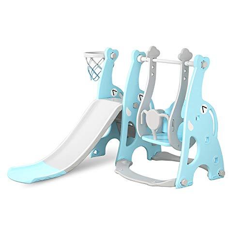 SSZZ Juego De Columpios 4 En 1 para Niños Escalador Parque Infantil Combinación De Tobogán Independiente Juego para Niños Pequeños Interior Pequeño con Aro De Baloncesto,Azul