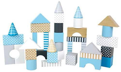 JaBaDaBaDo Bauklötze Rosa Pastell oder Blau Pastell Bausteine Holzbausteine Bausteinebox Junge Mädchen Kinderzimmerdeko (Blau Pastell)
