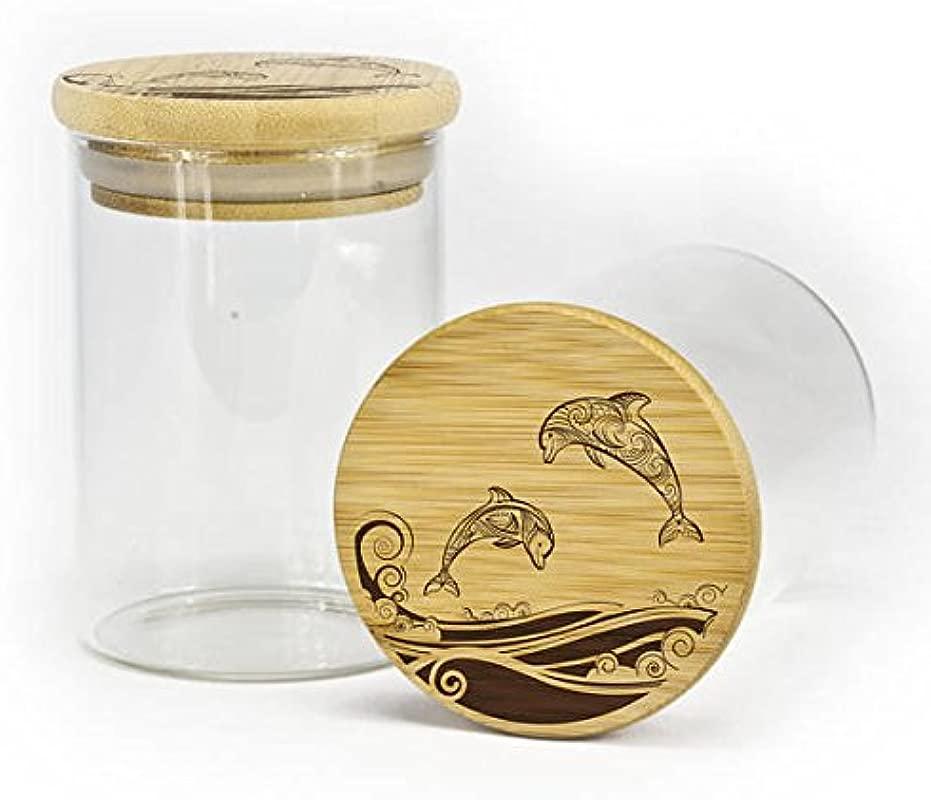 Stash Jar Airtight Silicone Seal Dolphin Design Custom Stash Jar