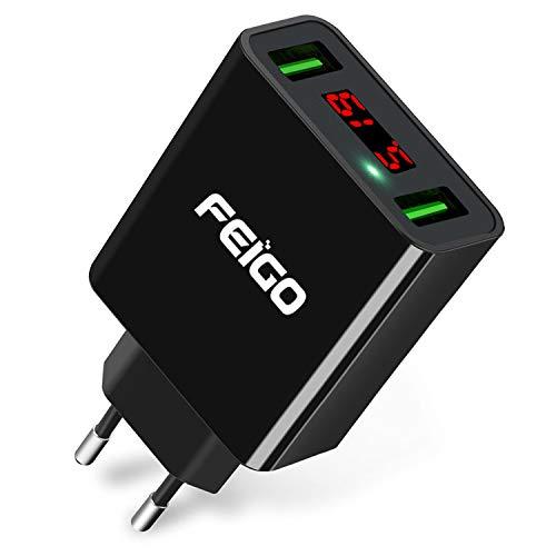 FEIGO USB Ladegerät 2-Port 5V/2.2A Wall Charger Netzteil mit LED Digitaler Anzeige Reise Stecker für Galaxy S7/Edge/S8/S9/Plus Phone 6/7/8/Plus/X Bluetooth/Tragbar Geräte Schwarz