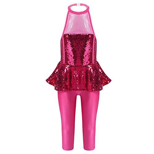 iiniim Vestido de Ballet para Niña Disfraz de Carnaval Dancewear Costume Brillante Leggins de Una Pieza Vestido sin Manga Actuación Ballet Danza Latina Rosa Oscuro 5-6 años