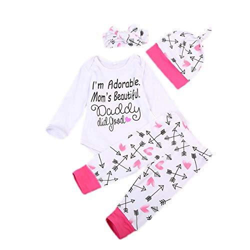 TheFound Conjunto de 4 piezas para bebé blanco con letra de manga larga + pantalones con impresión de flecha y amor rosa + diadema + mono para niña 0-18 meses Color blanco. 12- 18 meses