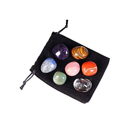 W.Z.H.H.H Cristal áspero Cristal Natural Siete Chakras Curación de Piedra Pulida Chakra Decoración para el hogar Regalo Yoga Energía Piedra Cristales de curación