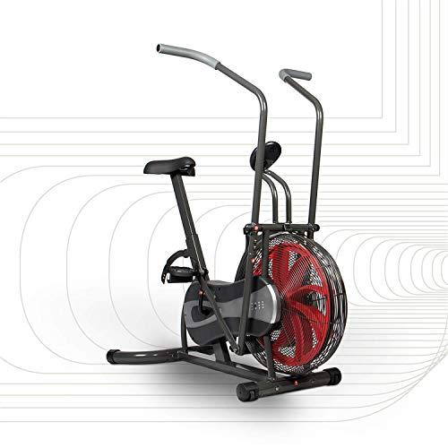 SportPlus Air Bike mit Luftwiderstand und Riemenbremssystem - effizienter HIIT Heimtrainer für Arme und Beine, mit Trainingscomputer, sicher & stabil bis 100kg, kompakte Maße, SP-FB-1000