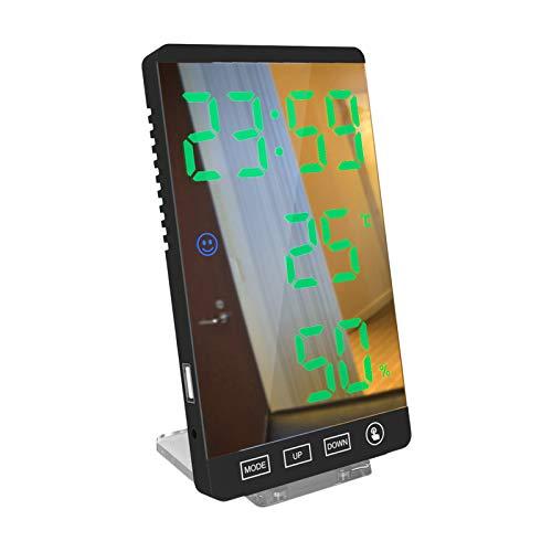 Baoblaze Reloj Despertador Digital, Pantalla LED Grande de 6 Pulgadas   Función de Descanso fácil, Reloj de Pared de Espejo Moderno para el Dormitorio, Oficina - Verde cercanas