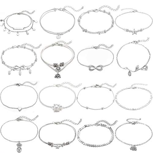 Starain 16Pcs Anklets for Women Silver Layered Star Ankle Bracelets Set Adjustable Beach Foot Anklets