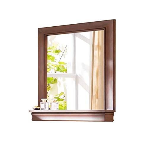 Relaxbx make-up spiegel muur spiegels voor woonkamer houten frame, met plank gemonteerde spiegel badkamer spiegel Shabby chic drijfhout spiegel (Maat: 80 * 80cm)