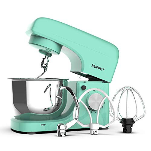 KUPPET Stand Mixer, 8-Speed Electric Mixer, Tilt-Head Food Mixer with Dough Hook, Wire Whip & Beater, 4.7QT Stainless Steel Bowl, Macaron Green