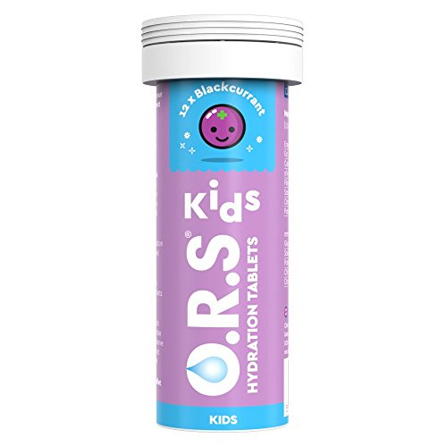 O.R.S Kids Hydration Tablets with Electrolytes, Vegan, Gluten and Lactose Free Formula - Natural Blackcurrant Flavour, 12 Tablets