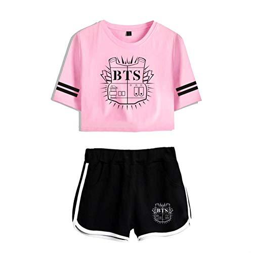 kexx BTS Ensemble T-shirt et short pour femme Tenue décontractée Imprimé Survêtement Kpop Bangtan Boys Fans Summer Sportswear Ensembles Gym Pyjama Cheerleading Uniforme - - XS