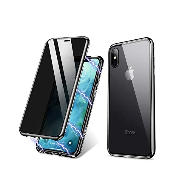 iPhone Case, ZHIKE Anti-Peep Magnetic Adsorption Case Front and Back Tempered Glass...