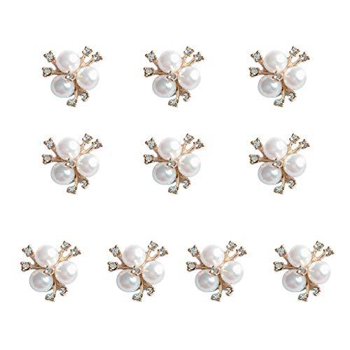 Xuebai 10 Piezas de Diamantes de imitación de Perlas Adornos de Flores Broche Botones de Espalda Plana Accesorios de Costura para Manualidades DIY B #