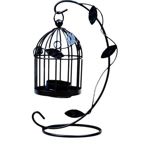 VI. Yo Kerzenhalter Laternen Vogelkäfig Metall Teelicht Ständer Hochzeit Home Tisch Dekoration, 1Stück, metall, schwarz, M