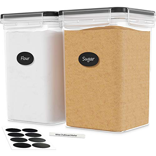 DWËLLZA KITCHEN Extra Large Airtight Food Storage Containers - 2 PC 175 oz Each - Flour & Sugar Containers - Air Tight Pantry & Kitchen Organization Bulk Food Storage Canisters with Marker & Labels