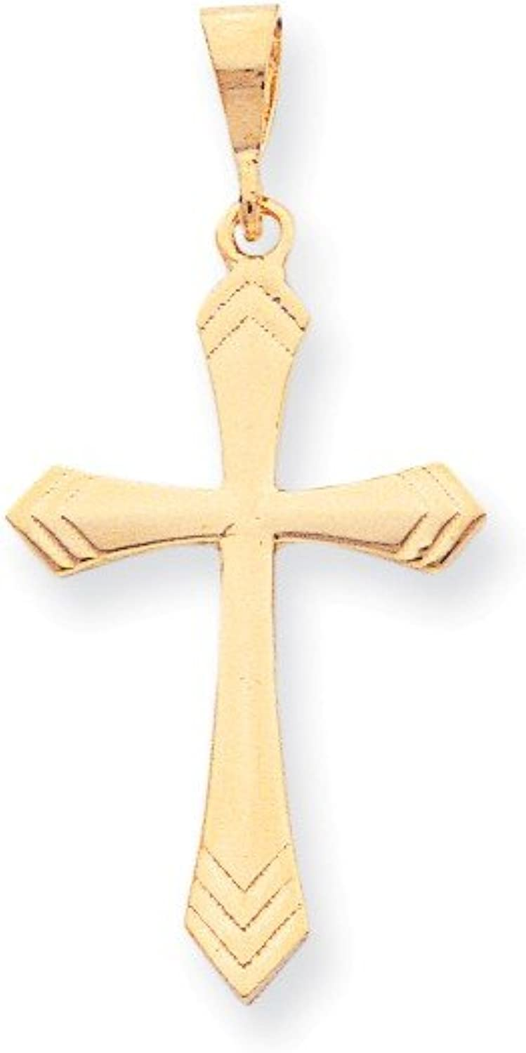 10k Yellow gold Polished Cross Charm Solid Casted