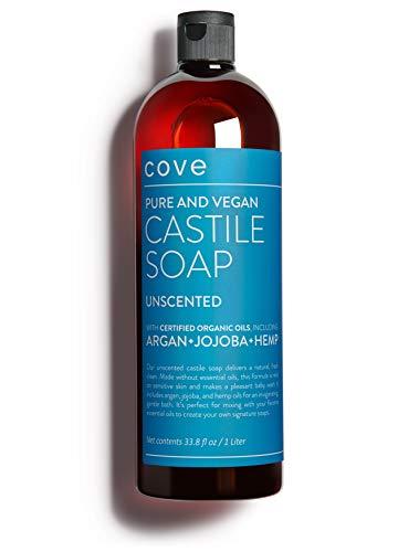 Cove Castile Soap Unscented - 1 Liter / 33.8 oz - Organic Argan,...