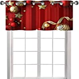 YUAZHOQI Cenefa de cortina con marco de adornos navideños, color rojo y dorado, con espacio para copiar, fondo rojo, 127 x 45 cm, tratamiento de ventana para cocina, salón comedor