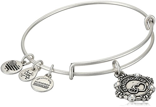 Alex and Ani Womens Because I Love You, Granddaughter Charm Bangle Bracelet, Rafaelian Silver, Expandable