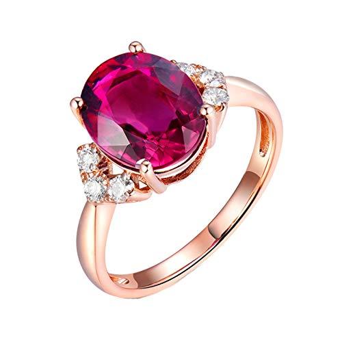 AnazoZ Anillo Mujer Turmalina,Anillos de Oro Rosa Mujer 18K Oro Rosa y Rosa Roja Oval Turmalina Rosa Roja 3.769ct Diamante 0.21ct Talla 16