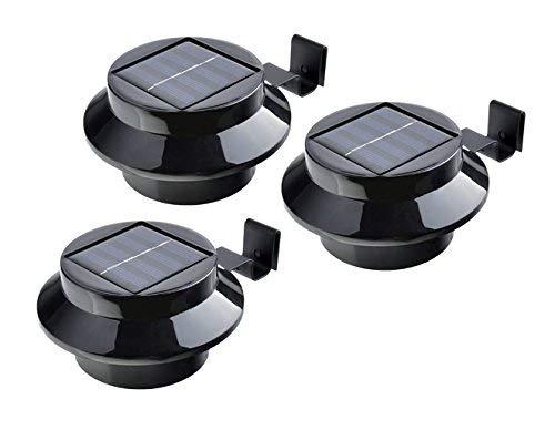 Solar Dachrinnen-Leuchte / 3-er Set/Schwarz oder Weiß/kabellos / Dachrinnenbeleuchtung (Schwarz)