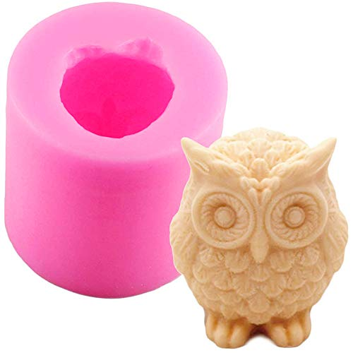 3D Owl Silicone Candle Soap Making Mold Cake Decorating Fondant Chocolate Candy Baking Mould for Wedding Baby Shower Birthday Christmas Gift Party Decoration Homemade Sugarcraft DIY