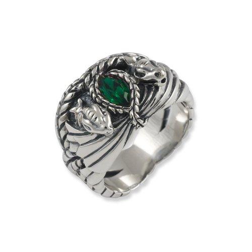 Screwface (1) - 3002-054, Anello in argento sterling con vetro, unisex, verde, 14