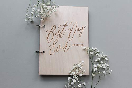 "Georgia Barnard 8"" x 12"" Personalized Wedding Guest Book, Best Day Ever Guestbook, Cursive Guest Book, Wooden Guestbook, Modern Guest Book, Calligraphy Guest Book, Custom Guestbook"