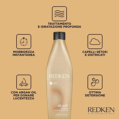 Redken All Soft Shampoo, formula professionale per capelli secchi e fragili, deterge delicatamente e dona idratazione e morbidezza - 300 ml