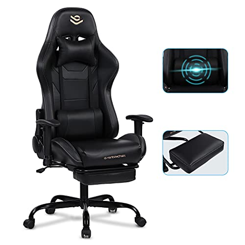 Gaming Chair with Footrest Black Recliner Chair Rocking Ergonomic Massage Office Computer Chair High Back with Headrest & Lumbar Support Racing Gaming Chair for Adults & Teens Vanbowchairs