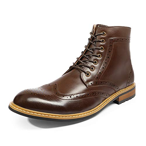 Bruno Marc Men's Dress Ankle Motorcycle Boots Wingtip Leather Lined Derby Oxfords Bergen-01 Dark Brown Size 10 M US