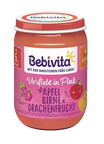 Bebivita Bunte Früchte Pink Apfel-Birne-Drachenfrucht, 6er Pack (6 x 190 g)
