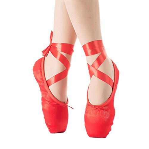Hippolo Größe 30-40 Kinder und Erwachsene Ballett Pointe Tanzschuhe Damen Professionelle Ballett Tanzschuhe mit Bändern Schuhe Damen Gr. 35, rot
