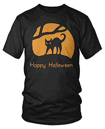 Ljkhas2329 Men's Happy Halloween Moon Black Cat Silhouette T-Shirt XXXL