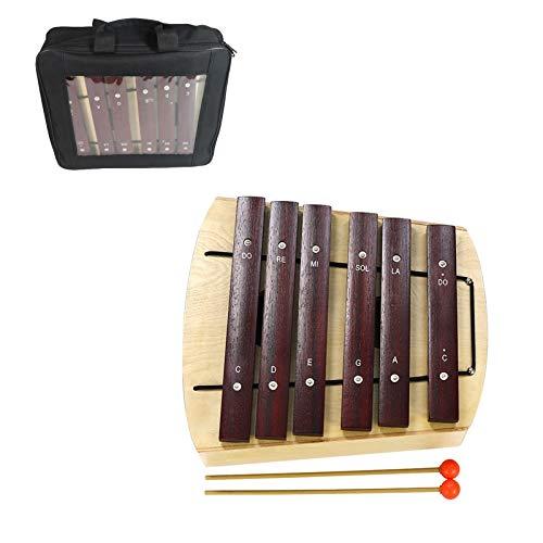 QiaoDongDian Xylophone 6 Notas Instrumento de percusión de Madera Glockenspiel Musical Educativo con 2 mazos y Bolsa, Regalo para Adultos y niños