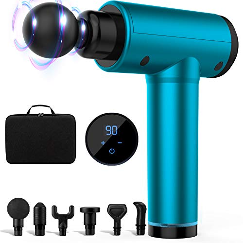 Massage Gun Deep Tissue Massager - Muscle Massage Gun Percussion Massager, Hand Held Massager for Muscle Deep Relaxation, 30 Speeds, Long Battery Life with 6 Massage Heads, Lake Blue