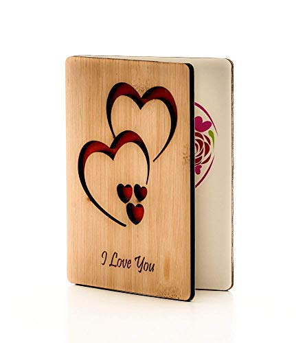 Real Bamboo Wooden I Love You Cards; Perfect Gift For Any Occasion; Happy Anniversary Card; Mothers Day Card; Fathers Day Card; Wood Greeting Card For Wife, Husband, Girlfriend, Boyfriend, Him or Her