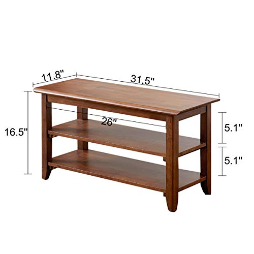 ACRO Storage Bench Wooden Shoe Bench Rustic Solid Wood Entryway Bench (Brown,31.5