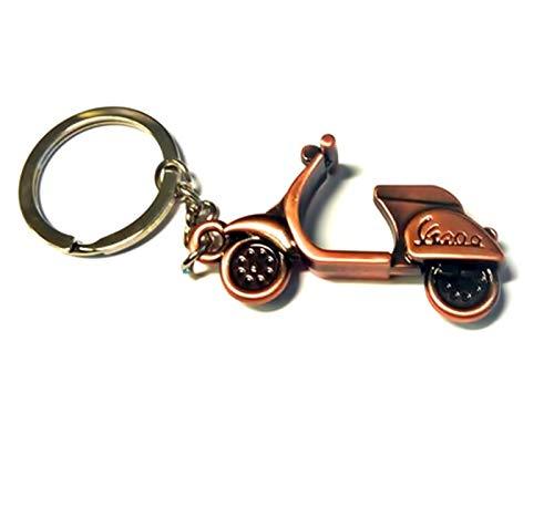Schlüsselanhänger aus Metall - Kupfer/Bronze - mit geprägtem Marken Schriftzug für Roller-Fans