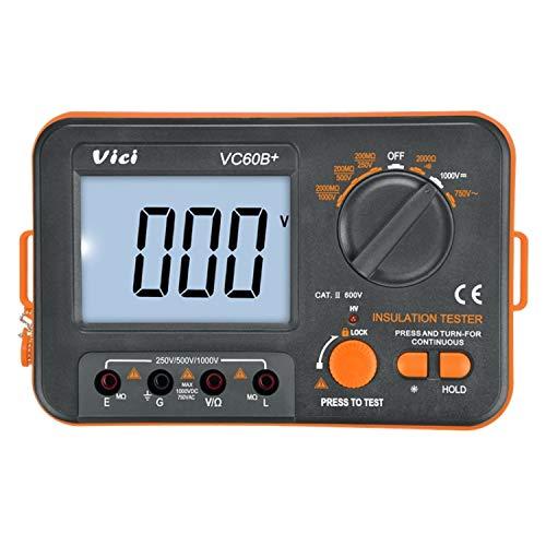 Digitaler Isolationswiderstandstester VC60B + Isolationsprüfmaschine Mega-Ohmmeter 250 V 500 V 1000 V Hochspannungs- und Kurzschluss-Alarm Multimeter Digital Tester