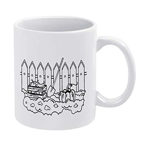 Kaffeetasse mit Gemüsegarten und Malvorlage, Geschenk für Männer, Frauen, Freunde, Geburtstag, 425 ml, weiße Keramik-Tasse mit Zitat